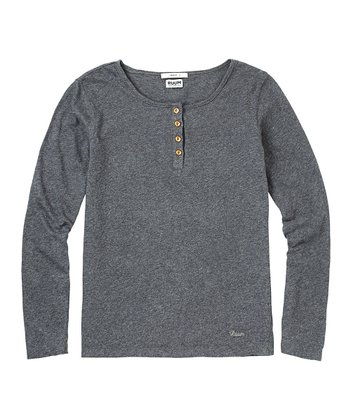 Dark Heather Gray Super-Soft Henley - Girls