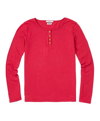 Cerise Super-Soft Henley - Girls