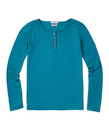 Dark Teal Super-Soft Henley - Girls