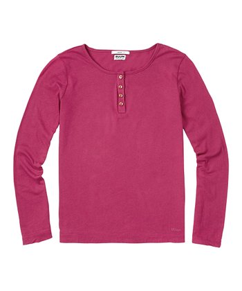 Deep Mauve Super-Soft Henley - Girls