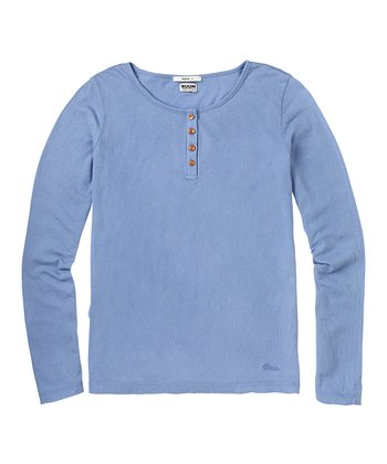 Muted Periwinkle Super-Soft Henley - Girls