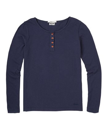 Navy Super-Soft Henley - Girls