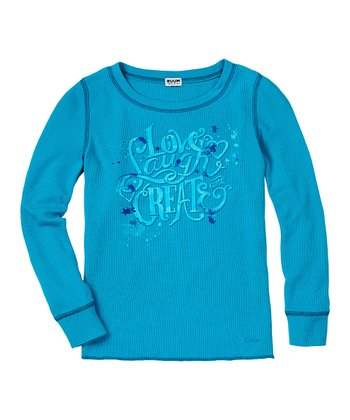 Deep Turquoise 'Love Laugh Create' Thermal - Girls