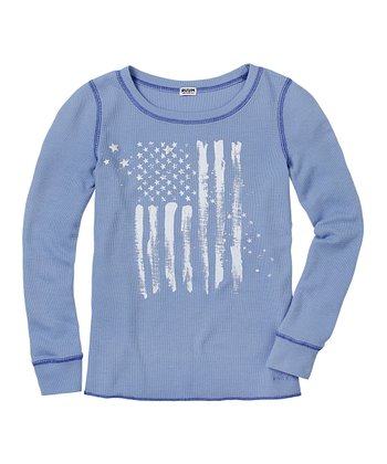 Muted Periwinkle Flag Thermal - Girls
