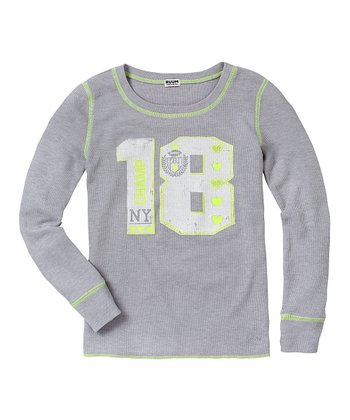 Light Heather Gray '18' Thermal - Girls