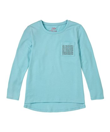 Aquatic Studded Pocket Hi-Low Tee - Girls