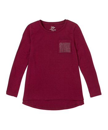 Berry Wine Studded Pocket Hi-Low Tee - Girls