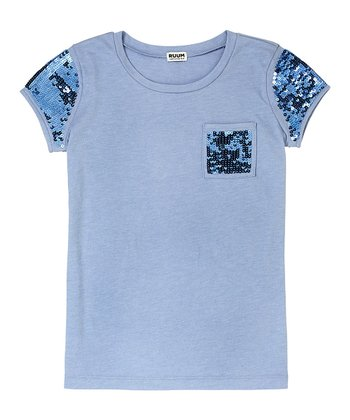 Muted Periwinkle Sequin Tee - Girls