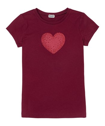 Berry Wine Heart Tee - Girls