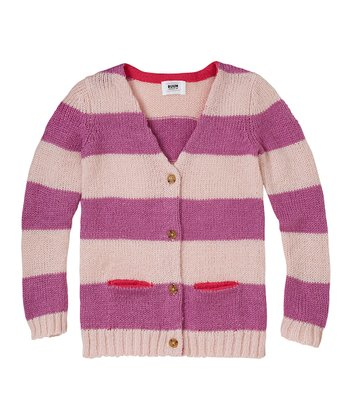 Muted Mauve Stripe Cardigan - Girls