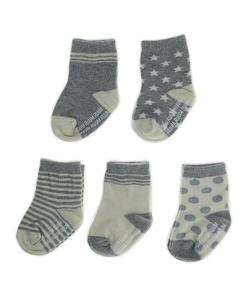 Medium Heather Gray Heart Socks Set