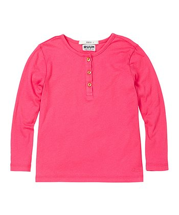 Electric Pink Super-Soft Henley - Toddler & Girls