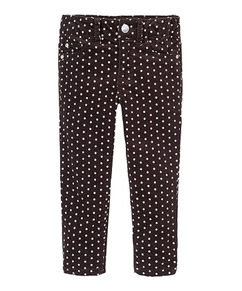 Chocolate Polka Dot Corduroy Skinny Pants - Infant & Toddler