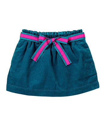Dark Teal Bow Corduroy Skirt - Infant & Toddler