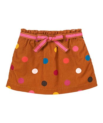 Salted Caramel Polka Dot Bow Corduroy Skirt - Infant & Toddler