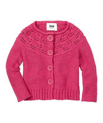 Electric Pink Chunky Cardigan - Infant & Toddler