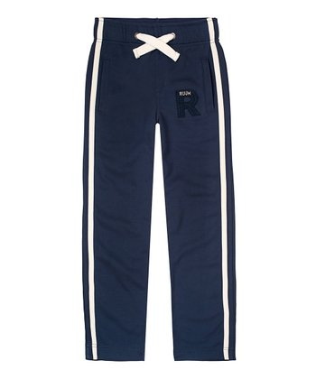 Navy Tricot Drawstring Track Pants - Boys