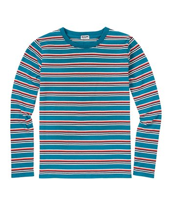 Dark Teal Stripe Crew Tee - Boys