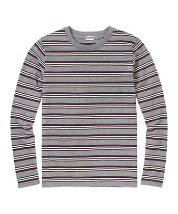 Heather Gray Stripe Crew Tee - Boys