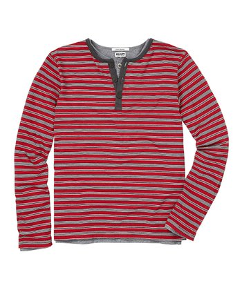 London Red Mini Stripe Layered Henley - Toddler & Boys
