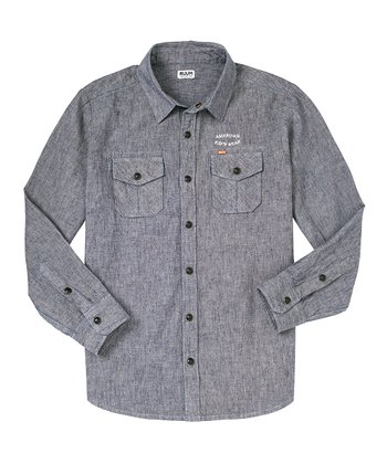 Chambray Blue Linen-Blend Button-Up - Boys