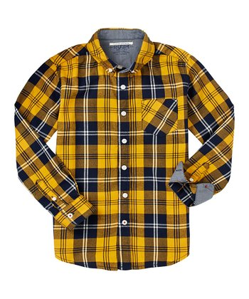 Ochre Cabin Plaid Button-Up - Toddler & Boys