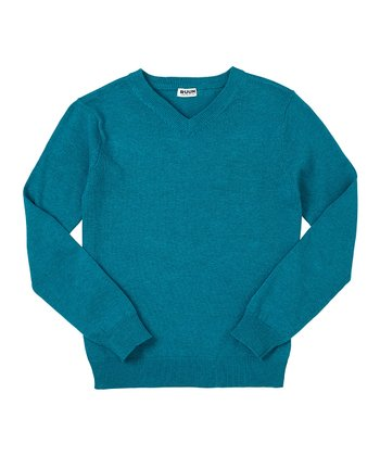 Dark Teal Heather V-Neck Sweater - Toddler & Boys
