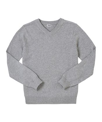 Light Gray Heather V-Neck Sweater - Toddler & Boys