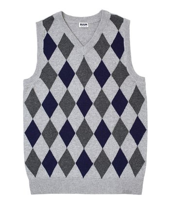 Heather Gray Diamond Sweater Vest - Boys