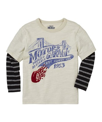 Vintage White 'Motor Garage' Layered Tee - Infant, Toddler & Boys