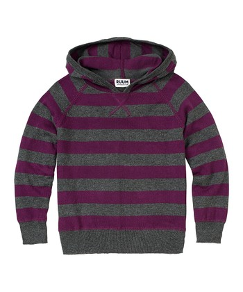 Eggplant Stripe Sweater Hoodie - Infant, Toddler & Boys