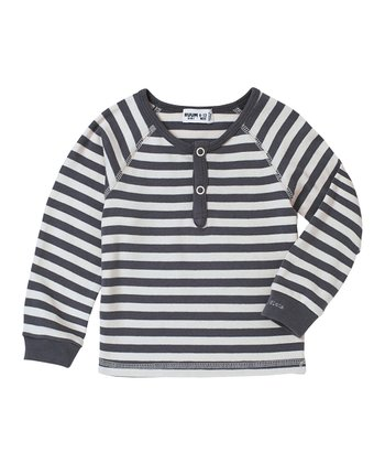 Rich Cream Stripe Henley - Infant