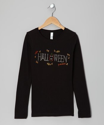 Black 'Halloween' Tee - Girls