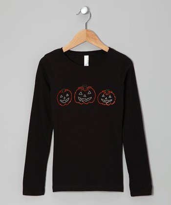 Black Three Pumpkins Tee - Girls