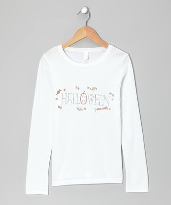 White 'Halloween' Tee - Girls