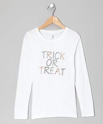 White 'Trick or Treat' Tee - Girls