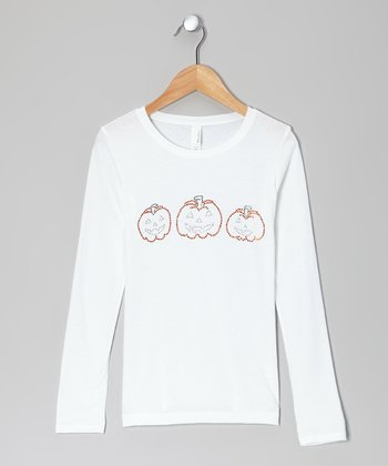 White Three Pumpkins Tee - Girls