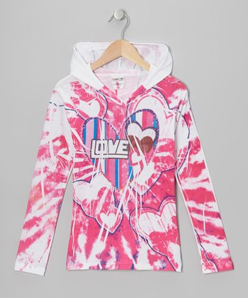 Pink Stripe Heart Sublimation Hoodie - Girls