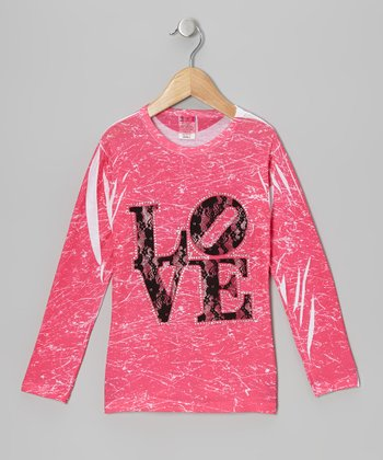 Pink & Black Lace 'Love' Marble-Dye Tee - Toddler & Girls