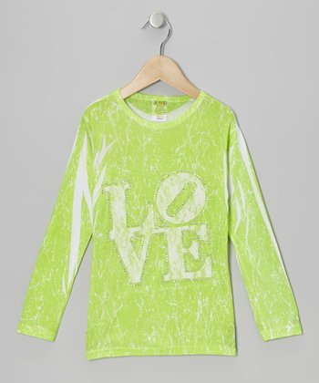 Lime & White Lace 'Love' Marble-Dye Tee - Toddler & Girls
