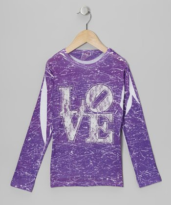 Purple & White Lace 'Love' Marble-Dye Tee - Toddler & Girls