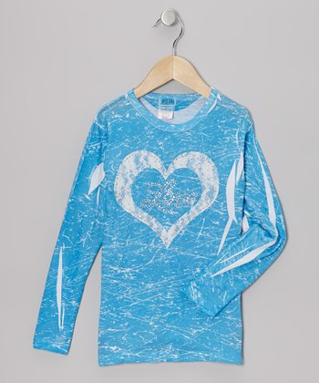 Blue & White Lace Heart 'Love' Marble-Dye Tee - Toddler & Girls