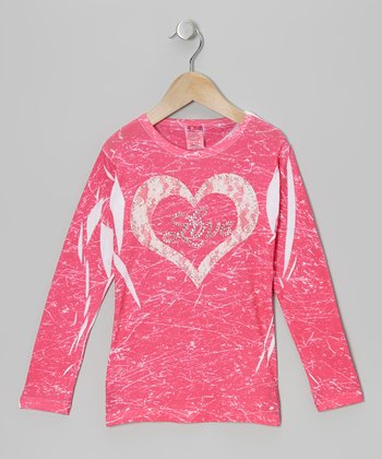 Pink & White Lace Heart 'Love' Marble-Dye Tee - Toddler & Girls