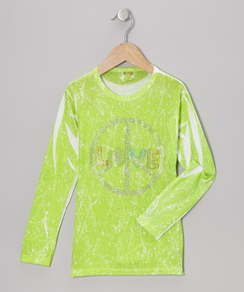 Lime Peace Sign Marble-Dye Tee - Toddler & Girls