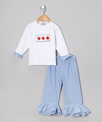 White Apple Top & Blue Ruffle Pants - Toddler & Girls