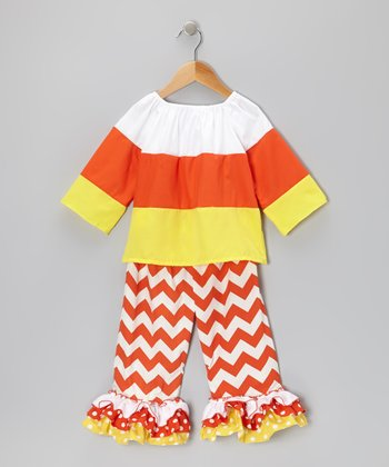 Candy Corn Top & Zigzag Ruffle Pants - Infant, Toddler & Girls