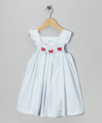 Blue Crab Smocked Gabby Dress - Toddler & Girls