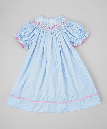 Blue & White Stripe Rose Bishop Dress - Infant, Toddler & Girls