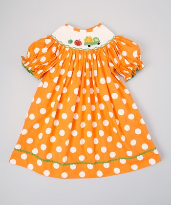 Orange & White Polka Dot Pumpkin Bishop Dress - Infant, Toddler & Girls