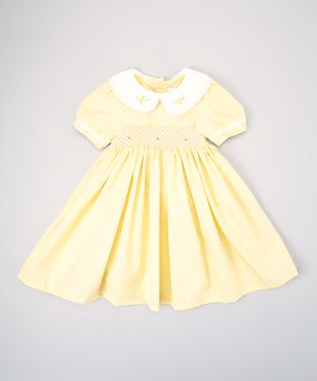 Yellow Rose Smocked Dress - Infant & Toddler